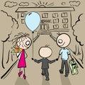 Parents accompany her son to school vector cartoon illustration Royalty Free Stock Photos