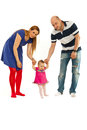 Parents with baby first steps Royalty Free Stock Photos