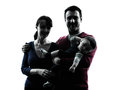 Parents with baby portrait silhouette in silhouettes on white background Royalty Free Stock Photos