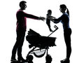 Parents with baby silhouette in silhouettes on white background Stock Photos