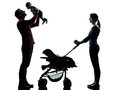 Parents with baby silhouette in silhouettes on white background Royalty Free Stock Photos