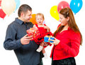 Parents celebrate their daughter's birthday Royalty Free Stock Photography