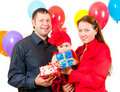 Parents celebrate their daughter's birthday Stock Photography