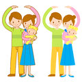 Parents and Children Mascot love gesture. Home and Family Charac Royalty Free Stock Photo