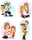 Parents and children playing together illustration cartoon Royalty Free Stock Photos