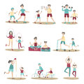 Parents and children together doing sport and active recreation outdoors. Vector illustration set, isolated on white.
