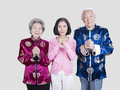 Parents and daughter portrait of a senior asian couple their adult Royalty Free Stock Photography