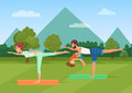 Parents with girl kid does yoga various exercises. Family yoga vector illustration.