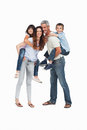 Parents holding their children on backs white background Royalty Free Stock Photography