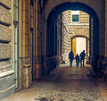 Parents and kid walking trough the passage at budapest Royalty Free Stock Photography