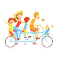 Parents And Kids On Triple Seat Bicycle Riding Outdoors In Summer, Happy Loving Families With Kids Spending Weekend