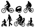 Parents riding bicycles with their kids silhouettes Stock Images