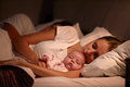 Parents Sleeping In Bed With Newborn Baby Royalty Free Stock Photo