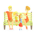 Parents, Son And Daughter Sitting On Park Bench, Happy Loving Families With Kids Spending Weekend Together Vector Royalty Free Stock Photo
