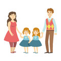 Parents And Two Twin Little Daughters, Illustration From Happy Loving Families Series Royalty Free Stock Photo