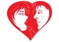 Pares del en-amor de la tarjeta del día de San Valentín Fotografía de archivo