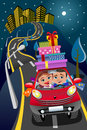 image photo : Couple Driving Car Gift Boxes Downtown Night