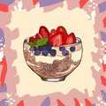 Parfait dessert with granola, blueberry, strawberry and yogurt sketch style image. Hand drawn vector illustration. Isolated menu