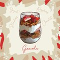Parfait dessert with granola, raspberry, strawberry and yogurt sketch style image. Hand drawn vector illustration. Isolated menu