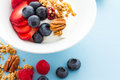 Parfait with fresh fruits and granola in white bowl Royalty Free Stock Photos