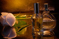 Parfum bottles with white rose on reflective background Royalty Free Stock Photography