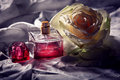 Parfume bottle with rose Royalty Free Stock Photo