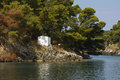 Parga bay in greece panagia isle at near syvota ionian sea Royalty Free Stock Image