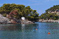 Parga bay in greece panagia isle at near syvota ionian sea Royalty Free Stock Photos