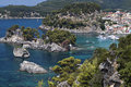 Parga bay in greece and panagia isle view near syvota ionian sea Royalty Free Stock Photo