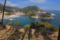 Parga bay in greece town and port near syvota ionian sea Stock Photo