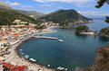 Parga c town and port near syvota in greece ionian sea Royalty Free Stock Images