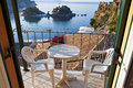 Parga city in greece town and port near syvota ionian sea Royalty Free Stock Photos