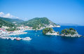 Parga greece and city harbor view from the top of the fortress at panagia island in beautiful ionian sea Royalty Free Stock Photos