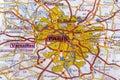 Parijs op de kaart Stock Afbeelding