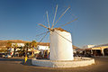 Parikia on paros island historic mill the seafront of the capital and main port of in greece Stock Photos
