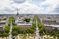 Paris aerial with eiffel tower view over the m high taken from the viewing platform of arc de triomphe Stock Images