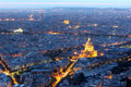 Paris aerial at night with Les Invalides, France Royalty Free Stock Photo