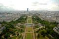 Paris aerial panorama of champ du mars from eiffel tower Royalty Free Stock Photo