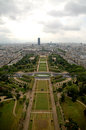 Paris aerial panorama of champ du mars from eiffel tower Stock Image