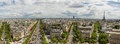 Paris aerial paorama panorama of with eiffel tower and chams elysee Royalty Free Stock Images