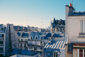Paris airbnb rooftop saturday morning casa Stock Image
