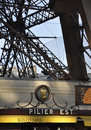Paris,august 20-Details of Pier of Eiffel Tower in Paris Royalty Free Stock Photo