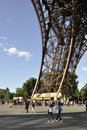 Paris,august 20-Pier of Eiffel Tower in Paris Royalty Free Stock Photo