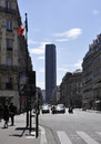 Paris august montparnasse tower street in france and in Royalty Free Stock Photos