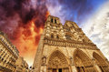 Paris beautiful view of notre dame cathedral Royalty Free Stock Photography
