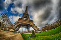 Paris beautiful wide angle view of eiffel tower in winter seaso season Royalty Free Stock Photos
