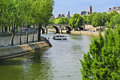 Paris, Boat on River Seine Stock Images