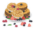 Paris brest cakes with praline and chocolate cream on plate with berries. French pastries with strawberry, raspberry, blueberry an