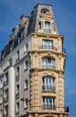 Paris building built in 1900 with slate Mansard roof Royalty Free Stock Photo