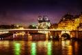 Paris cathedral at night Royalty Free Stock Photo